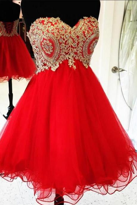 Lovely Tulle Red Sweetheart Knee Length Prom Dress, Cute Homecoming Dresses, Short Party Dresses 2017