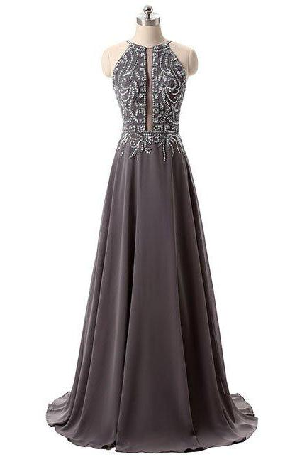 Delicate Beaded Straps Grey Chiffon Backless Floor Length Gowns, Grey Prom Dresses 2017, Beaded Party Dresses for Teen