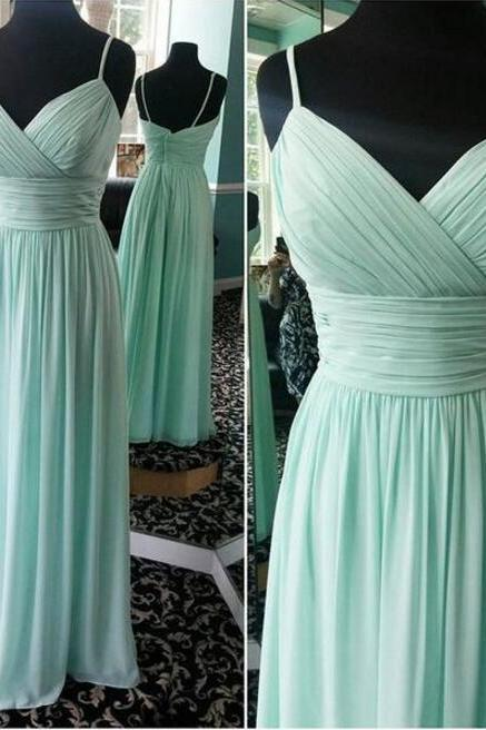 Elegant Mint Blue Sweetheart Straps Floor Length Bridesmaid Dresses, Chiffon Prom Dresses, Long Party Dresses