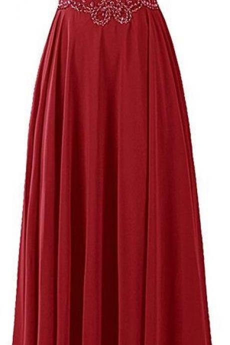 Beautiful Chiffon Straps Wine Red Floor Length Prom Dresses, Charming Prom Dress 2017,Burgundy Beaded Party Gowns