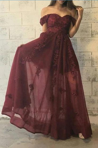 Charming Off Shoulder Maroon Floor Length Formal Dress with Lace Applique, Maroon Party Gowns, Formal Dresses