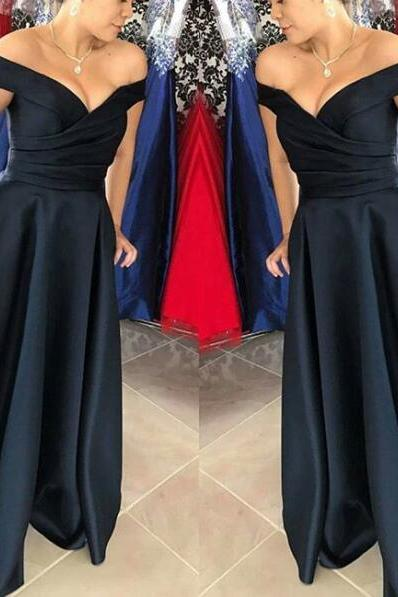 Beautiful Off Shoulder Dark Navy Blue Satin Party Gowns, Off Shoulder Formal Gowns, Prom Dresses 2017