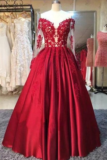 Gorgeous Red Satin Lace and Satin Floor Length Formal Gowns, Red Party Gowns, Evening Dresses, Prom Dresses
