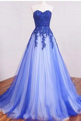 2017 Tulle Sweetheart Long Blue Lace Applique Party Gowns, Prom Dresses 2017, Formal Gowns 2017,Modest Sweet 16 Dresses
