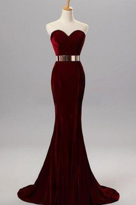 Burgundy Velvet Sweetheart Floor Length Trumpet Formal Dress Featuring Gold Belt, Prom Dress