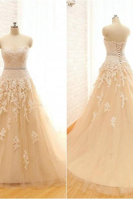 Gorgeous Sweetheart Lace Tulle Prom Gowns 2017, Champagne Wedding Gowns, Bridal Dresses, Formal Gowns
