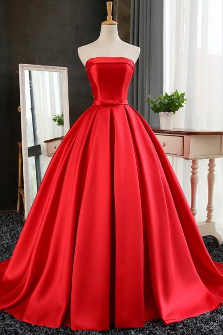 Red Ball Gown Long Satin Prom Dresses, Red Prom Dresses, Red Party Gowns