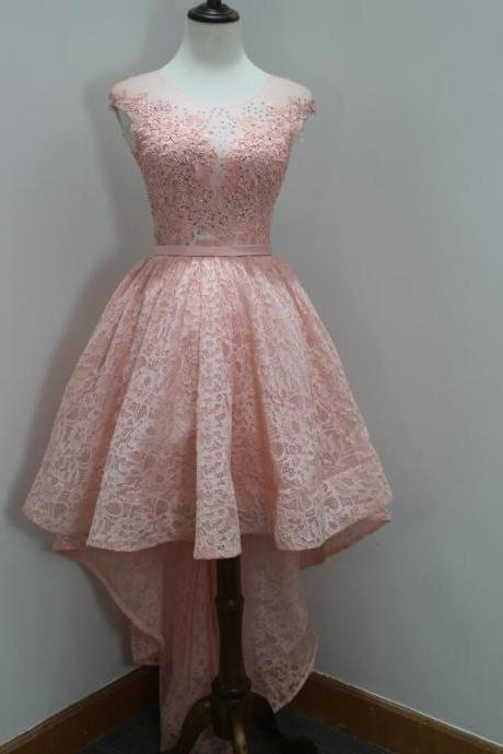 Lovely Lace Pink with Applique High Low Formal Dresses, Pink Party Dresses, High Low Prom Dreses