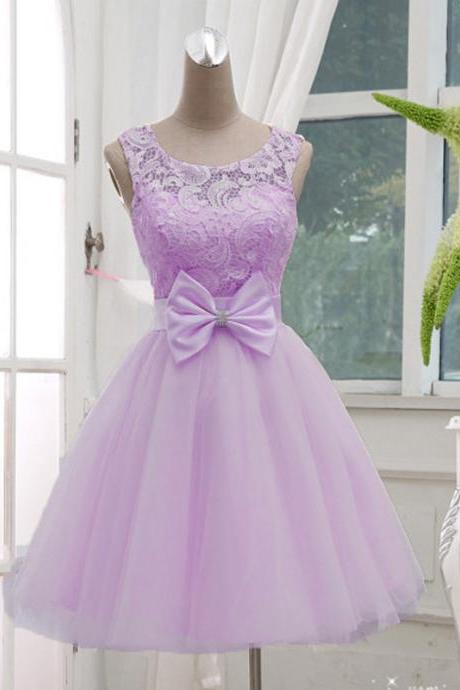 Lavender Tull Lace Short Party Dresses, Sweet 16 Dresses, Cute Short Prom Dresses