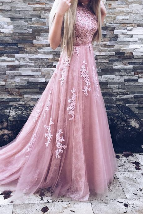 Cute Pink Round Neckline Tulle and Lace Long Gowns, Pink Party Gowns, Formal Gowns 2017