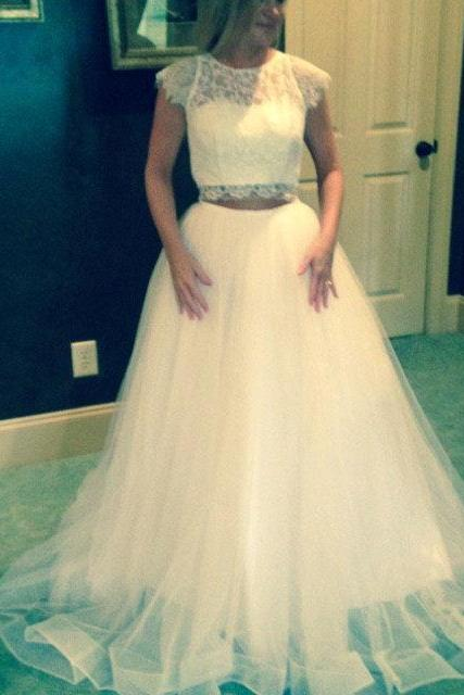 Stylish White Lace and Tulle Party Gowns, White Formal Dresses, Prom Dresses , Lace Gowns
