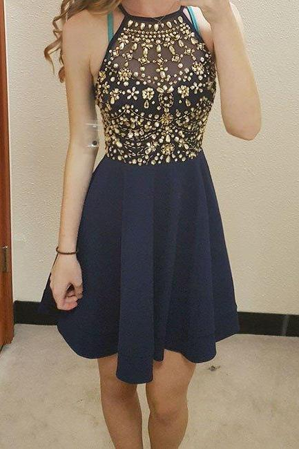 Sparkle Halter Beaded Short Nave Blue Homecoming Dresses, Short Prom Dresses, Navy Blue Formal Dresses