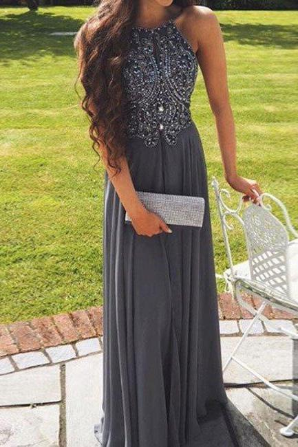 Stylish Long Grey Prom Dresses, Grey Straps Backless Prom Dresses, Chiffon Party Gowns
