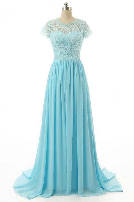 Elegant Light Blue Lace and Chiffon Floor Length Bridesmaid Dresses, Light Blue Prom Dresses, Blue Evening Gowns