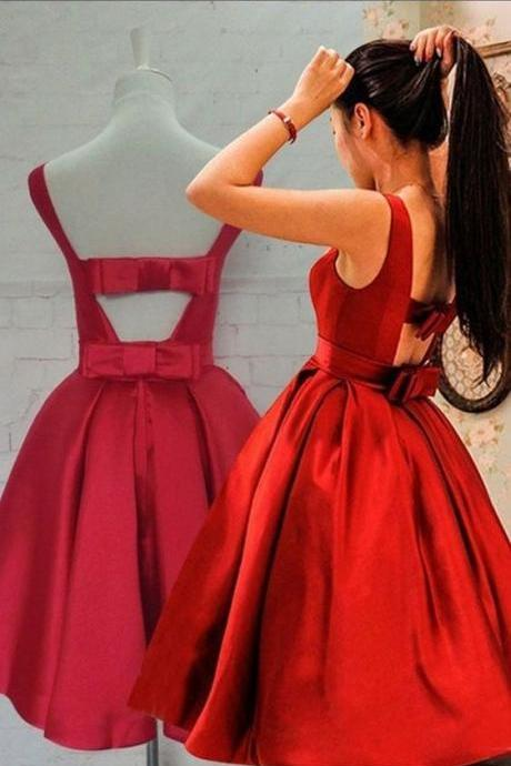 Lovely Satin Short Red Homecoming Dresses, Short Prom Dress with Bow, Lovely Sweet 16 Dresses