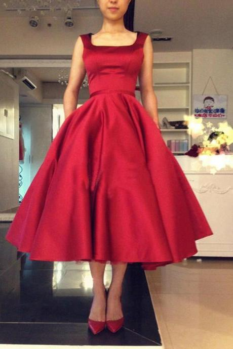 Cute Red Satin Tea Length Party Dresses, Red Homecoming Dresses, Cute Formal Dresses