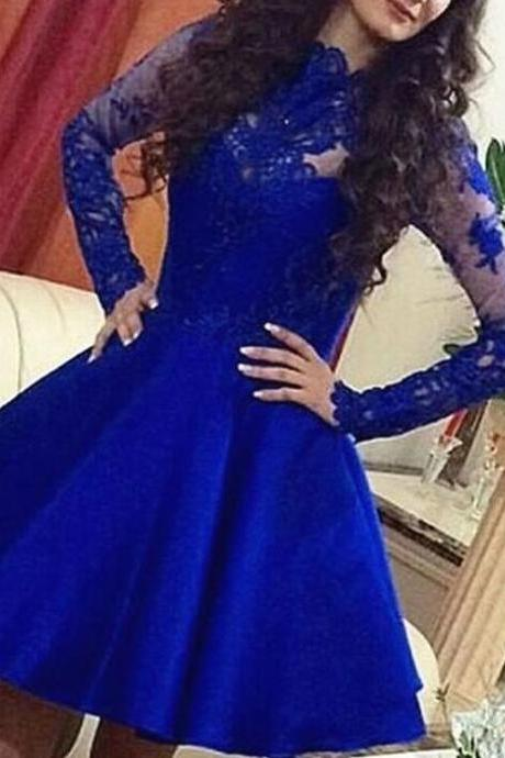 Royal Blue Long Sleeve Lace and Satin Homecoming Dresses, Short Prom Dresses, Royal Blue Party Dresses