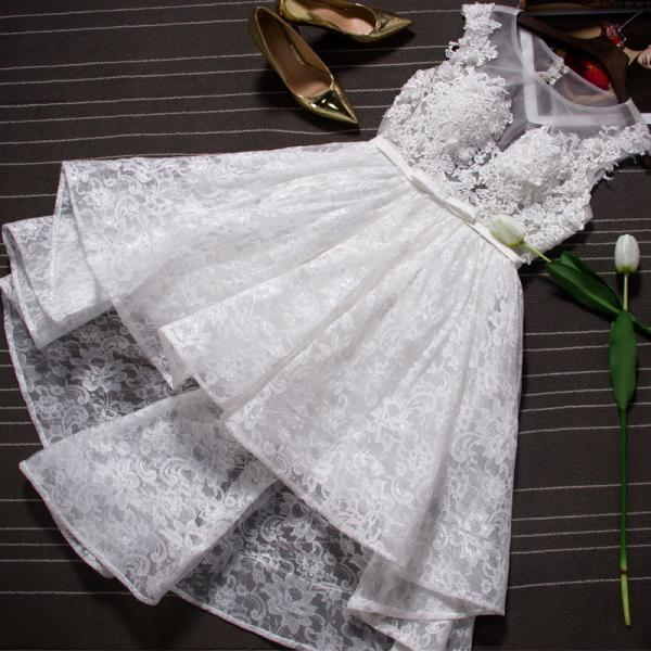 Adorable High Lace White Lace Short Teen Formal Dresses, Homecoming Dresses, White Formal Dresses