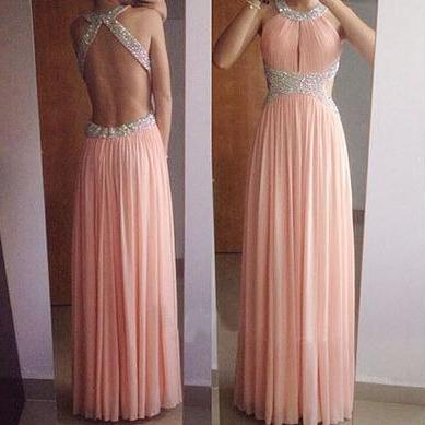 Custom Handmade Halter Light Pink Chiffon Beaded Prom Dresses, Pink Party Gowns, Prom Dresses 2017
