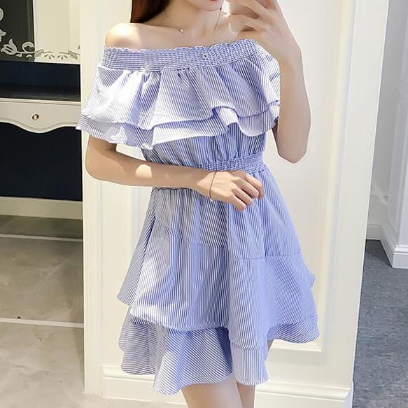 New Style Blue Off Shoulder Summer Dresses, Blue Teen Dresses, Cute Women Dresses