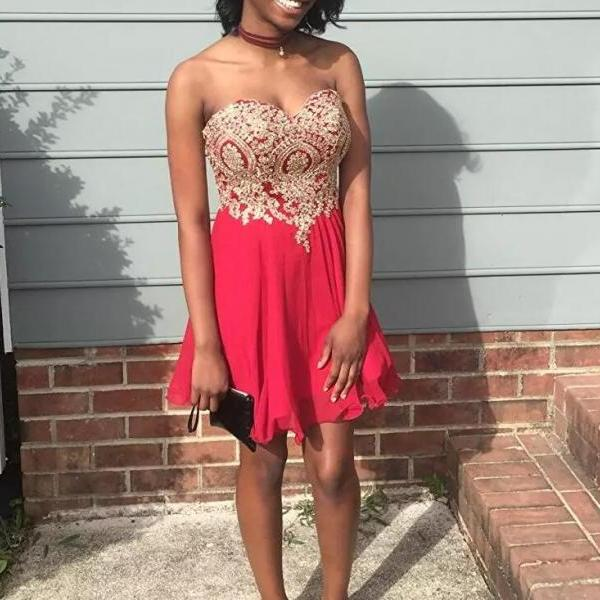 Red Chiffon Knee Length with Applique Homecoming Dresses, Red Party Gowns, Prom Dresses