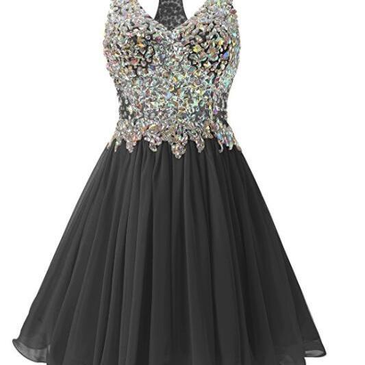 Black Chiffon Halter Knee Length Sparkle Beaded Homecoming Dresses, Black Short Prom Dresses, Little Black Dresses