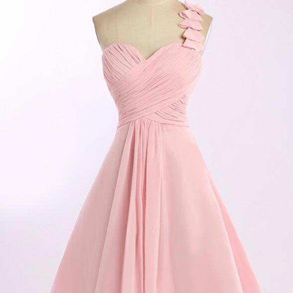 Sweet One Shoulder Pink Homecoming Dresses, Short Chiffon Pink Bridesmaid Dresses, Prom Dresses 2018