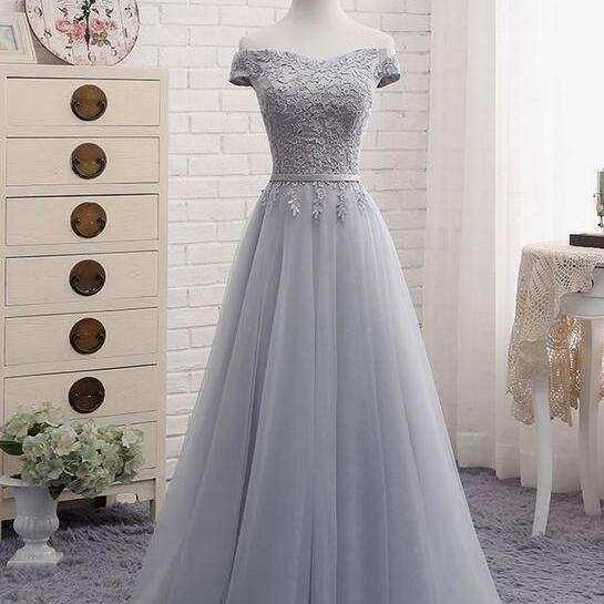 Simple Grey Bridesmaid Dresses, Tulle Bridesmaid Dresses, Grey Wedding Party Dresses, Prom Dresses