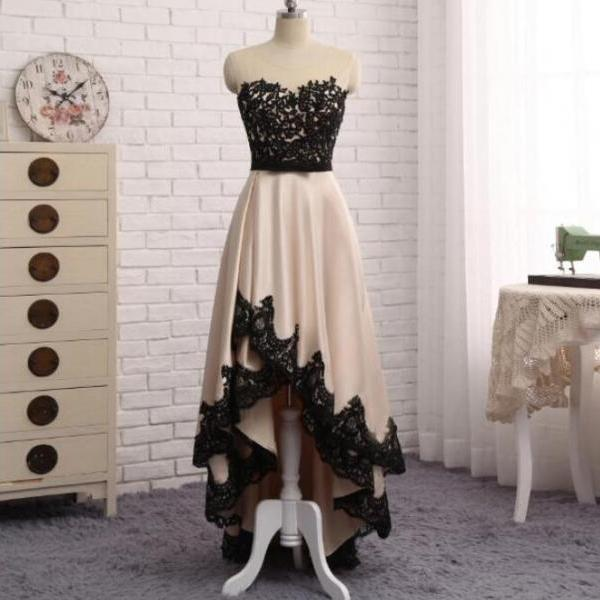 High Quality High Low Champagne Party Dress with Lace, Homecoming Dresses, Adorable Party Dresses