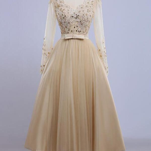 Pretty Handmade Elegant Long Sleeve Evening Crystals Formal Dresses, Unique Prom Dresses, Evening Formal Dresses