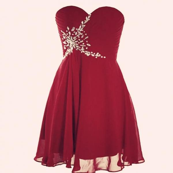 Simple Wine Red Homecoming Dresses, Sweetheart Beaded Knee Length Party Dresses, Short Prom Dresses