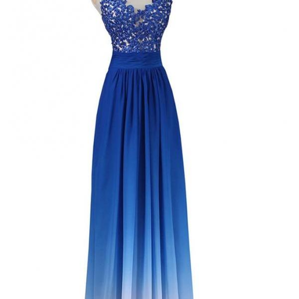 Gradient Blue Chiffon with Lace Applique Bodice Prom Dresses, Lovely Long Prom Dresses, New Style Formal Dresses 2018