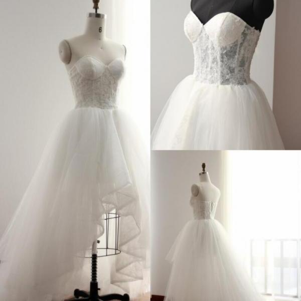 Pretty Handmade High Low Tulle and Lace Wedding Dresses Prom Dress,Romantic Formal Dresses, Lovely Wedding Party Dresses