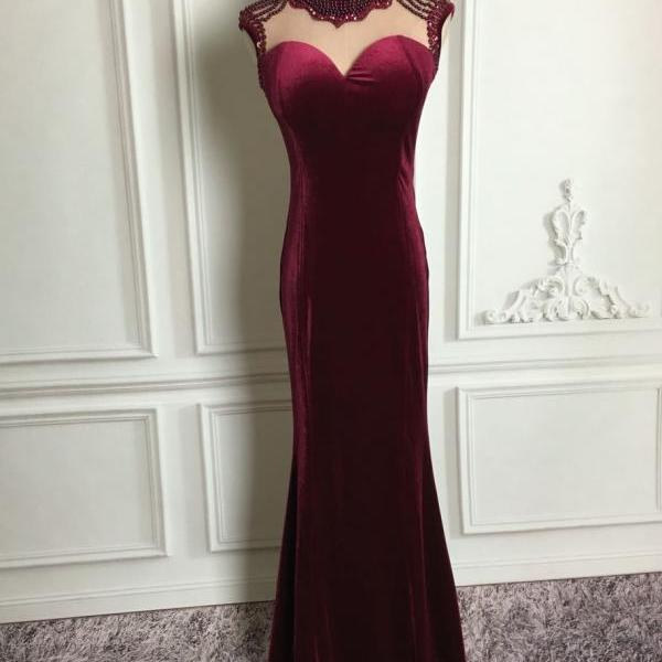Elegant Burgundy Velvet Beaded Mermaid New Style Party Dresses, Prom Dresses 2018, Formal Gowns
