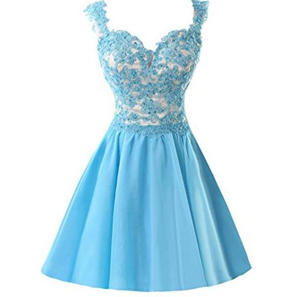 Blue Strap Homecoming Dresses, Short Sweetheart Appliques Homecoming Dresses, A lines Sweet 16 Dresses