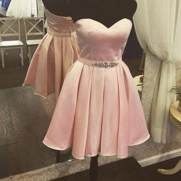 Adorable Pink Short Satin Homecoming Dress,Cute Prom Dresses, Lovely Teen Formal Dresses