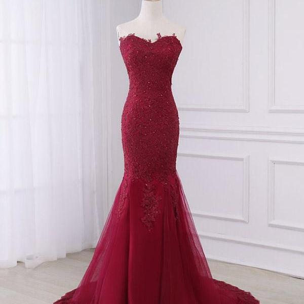 Wine Red Applique Mermaid Lace-Up Sweep Train Gowns, Tulle Prom Dresses, Burgundy Party Dresses