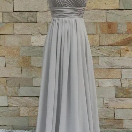 Pretty Grey Bridesmaid Dresses, Floral Long Bridesmaid Dresses, Party Dresses, Formal Gowns