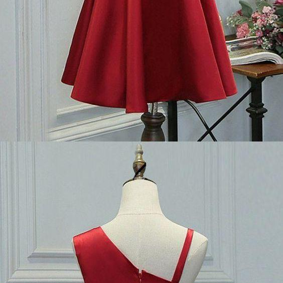 Red Short Homecoming Dress with Chic One Shoulder, Satin Prom Dresses, Wedding Party Dresses