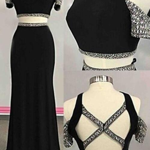 Black Two Piece Off Shoulder Long Prom Dresses, Two Piece Prom Dresses, Party Gowns