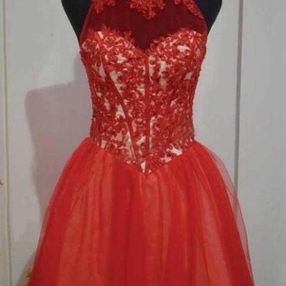 Red A lines High Collar Hollow Short Tulle Lace Homecoming Dresses, Red Short Party Dresses, Red Formal Dresses
