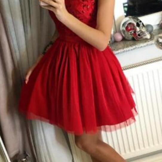 Red Short Homecoming Dresses, Juniors Prom Dresses, Halter Tulle Beaded Party Formal Dresses