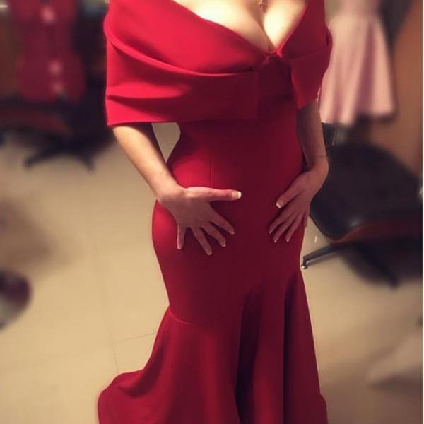 Sexy Red Gowns, Mermaid Party Dresses, Long Prom Dresses
