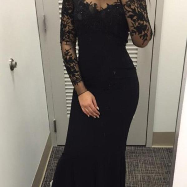 Black Long Sleeves Prom Dress,Prom Dresses For Teens,Evening Dresses, Wedding Party Dresses