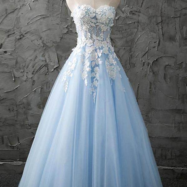 Custom Light Blue Handmade Long Prom Gowns with Lace Applique, Sweetheart Cute Princess Party Gowns, Evening Dresses