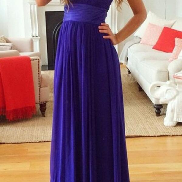 Dark Purple Chiffon Prom Dresses 2018, Simple Bridesmaid Dresses, Formal Gowns
