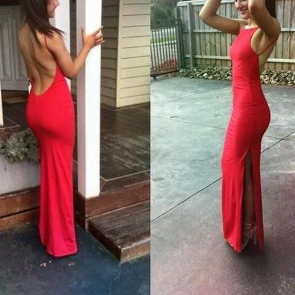 Sexy Red Mermaid Backless Slit Evening Party Dresses, Red Prom Dresses, Sexy Formal Gowns