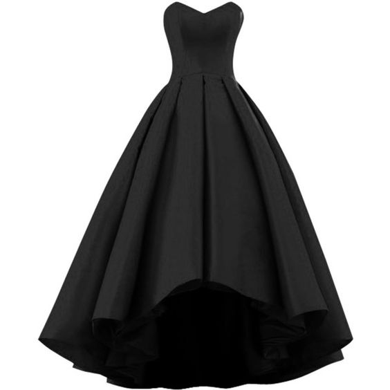 Satin Gorgeous Sleeveless Formal High Low Gowns, Black Occasion Dresses, Sweet 16 Gowns