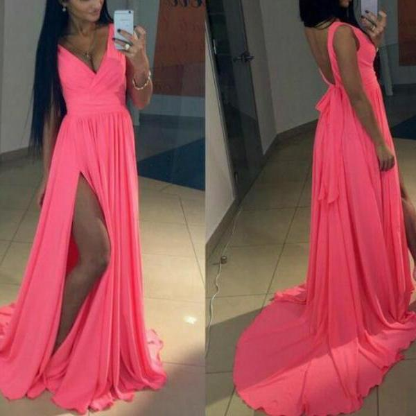 Dark Pink Deep V-neckline Chiffon Party Dress with Slit, Sexy Evening Formal Dresses,Formal Gowns