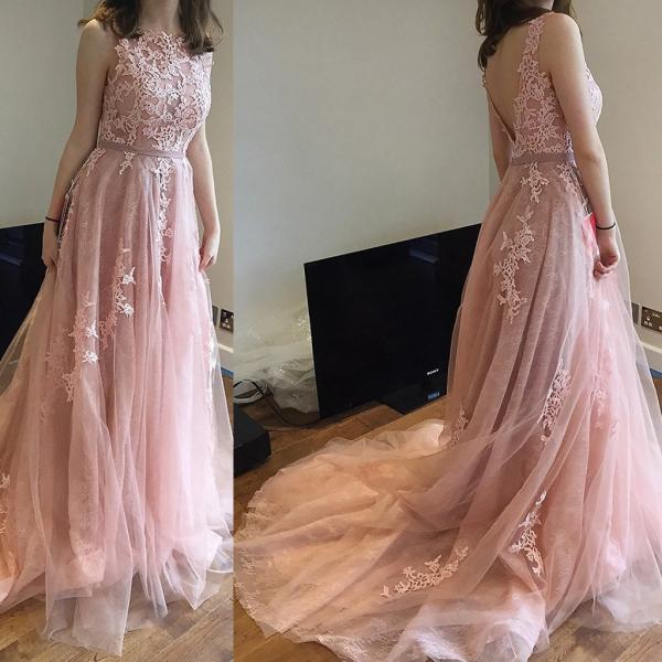 Pink Charming Lace and Tulle V Back Prom Gowns with Train, Pink Party Dresses, Evening Gowns